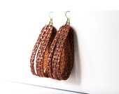 Leather Earrings / Sliced Leather / Basuketto