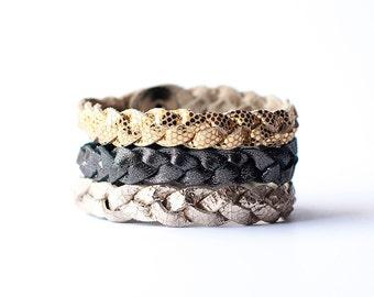 Braided Leather Bracelet Trio / New Sparkle
