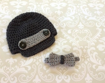 Crochet baby brimmed hat and necktie set - size 0 to 3 mos - an adorable baby shower gift, available now