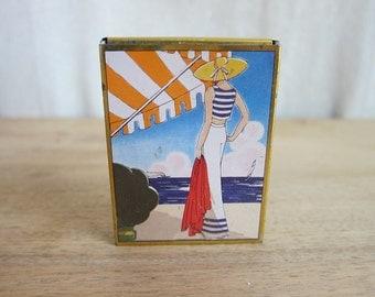 Vintage tins, Vintage Candy Tin Switzerland La Mode Art Deco Design Niggli Fashion Lady