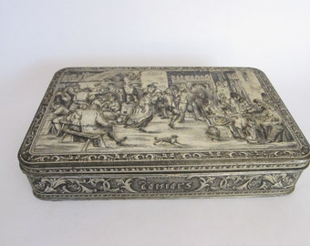 Vintage Belgian Teniers High Relief Metal Tin, Vintage Industrial Home Decor Kitchen Canisters, Unique Housewarming Gifts, Storage Ideas