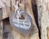 Oco Geode Shiny Siver Wire Wrapped Pendant