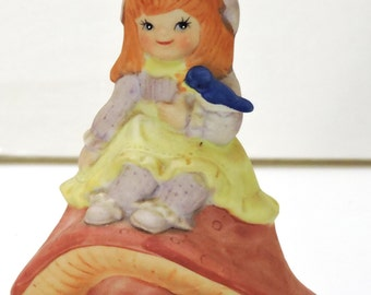 Vintage Musical Ceramic Figurine, Girl Sitting on a Mushroom,,Keepsake,Birthday Gift,Christmas Gift,Music Box