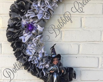 Witch Wreath, Halloween Wreath, Moon Crescent Wreath, Witch Crescent Wreath, Wicked Witch Wreath