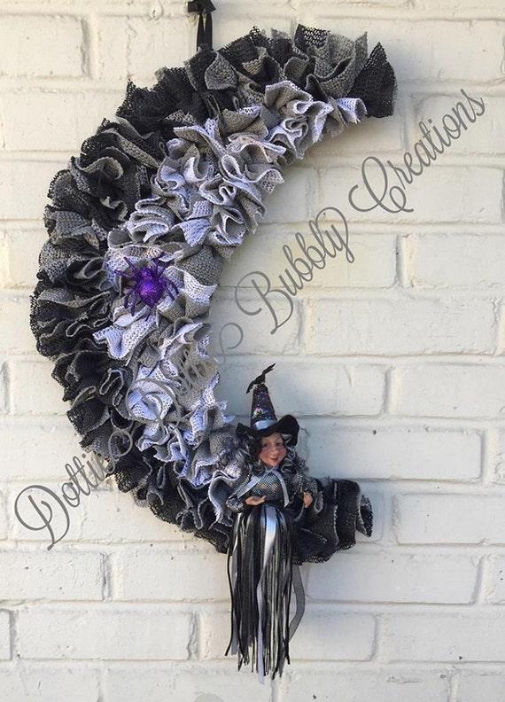 Wreath, Halloween Wreath, Moon Crescent Wreath, Witch Crescent Wreath ...