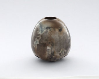 Smoke fired porcelain vessel, medium sized made in Ireland