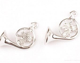 P797-R// Glossy Original Rhodium Plated Horn Pendant, 2 pcs
