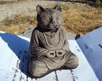Cat Buddha, Statue Paperweight,  Cement Stone, Yoga, Meditation, Zen