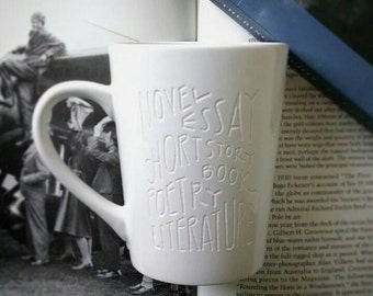Book Mug, Engraved Mug, Literature Lover Books Engraved Cup, Teacher Gift, Gift for Book Lovers, Writer Gift, Unique Coffee Cup, Reader Gift