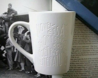 SALE! Book Mug, Engraved Mug, Literature Books Engraved Cup, Teacher Gift, Gift for Book Lovers, Writer Gift, Unique Coffee Cup, Reader Gift
