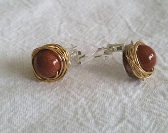 Amber Gold Stone Clip On Earrings