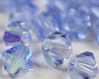 48 pcs Swarovski Elements Crystal 5328 5301 5mm Xillion Bicone Beads LIGHT SAPPHIRE AB ( Clearance )