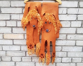 Poodle pet scarf, unique wet felted accessory, long soft pure wool scarf for kids and grown-ups!