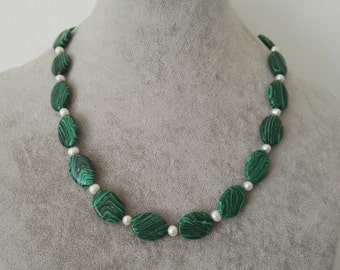 Free shipping - 13*18 mm green Malachite & white freshwater pearl necklace