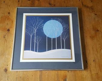 Vintage Blue Reinhard 1979 Print Of Winter Trees Matted & Framed
