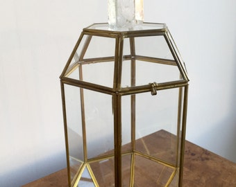 Vintage Glass and Brass Box with Natural Crystal Prism, Large