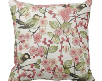 decorative pillows, bird pillow covers, bird couch pillows, couch pillow cover, spring pillows, pillow covers, pink pillows, euro shams