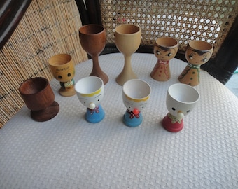 Egg cups lot of 9 all vintage