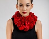 flower scarf, floral shawl, abstract scarf, fashion scarf, cotton scarf, long scarf, necklace scarf, knotting scarf, red, gray, black