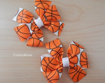 Girls Basketball Sports Pigtails Hair Bow Set
