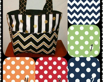 Diaper bag, handbag, purse, book bag..Navy Chevron N Dots..Choose Yours. Customize yours now.