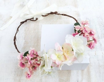 Woodland fairy pink and white floral LOLA flower crown - halo - bridal - wedding - bride - flower girl - vintage - festival