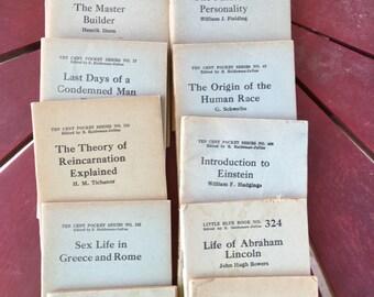 9 Ten Cent pocket books and 3 Little Blue Books 1920's