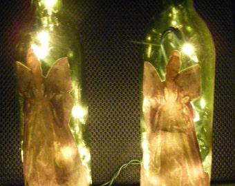 Angel Wine Bottle Light Pair