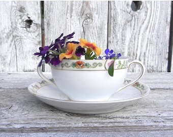 ON SALE Noritake Bone Chine Soup or Bouillon Cup and Saucer, Made in Japan, Double Handle Teacup, Collectible Cup and Saucer
