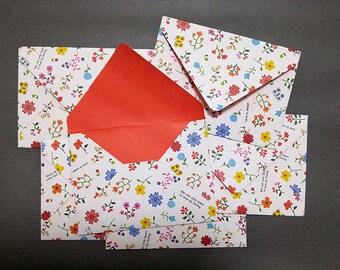 Card Envelope - Love is sweet -Handmade - 5 1/4 in x 4 in (13.5 cm x 10 cm) - Set of 6