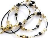 GOLDEN ELEGANCE- Beaded ID Lanyard Badge holder- Sparkling Crystals, Pearls, and Gold Plated Beads and Spacers (Comfort Created)