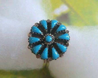 Vintage sterling silver turquoise flower ring size 10.75 Jason Livingston? Boho signed J STERLING inlay stone native old dead pawn 925