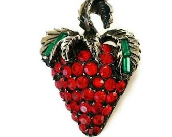 Vintage Strawberry Brooch rhinestones by Pell