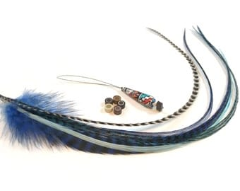 Feather hair extension kit: 5 natural bonded fluffy and wide rooster feathers with 5 hair crimps and hair threader. Natural and blue colors.