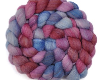 Hand dyed roving - Silk / Polwarth 40/60% wool roving - 4.0 ounces - Weathervane 1