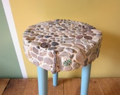 Stone and Sea Glass Mosaic Handcrafted One of a Kind Original Patio Table Patio Stool