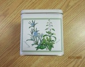 Vintage Kitchen Tin White With Herb Pictures