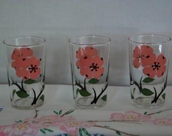Set of Three Vintage Dogwood Juice Glasses