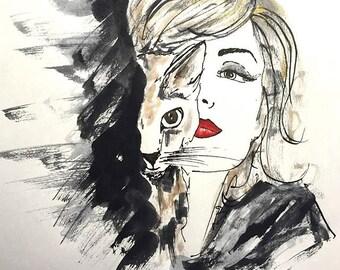 Golden Feline - Fashion Illustration, Ink Sketch Drawing, Pen and Ink, Pastel, Fine Art Print, Giclee, Original Art, Cat, Feline