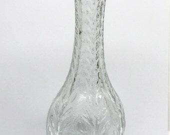 Bud Vase 1985 FTD Leafy Pattern Long Neck Clear Cut Glass 9 inch