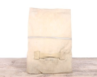 Vintage Military Duffel Canvas Bag / Army Bag / Retro Military Bag / Authentic US Army / Old Duffle Bag / Green Tan Duffle Bag