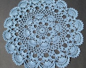 Crocheted Shell Doily Delft Blue - 11.5 inch Diameter - Cottage Chic