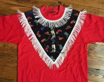 Awesome 80s 90s Country Western Tshirt - red shirt cowboy boots fringe