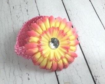 Daisy Flower Headband - baby Headbands - Peach Flower - Baby and Toddlers