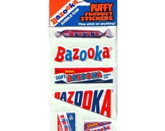 ON SALE Rare Vintage Bazooka Bubble Gum Topps Puffy Stickers - 1982 New in the Package Collectable Candy Toy Gift