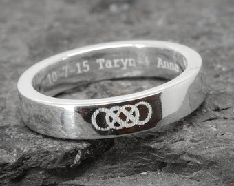 Double infinity ring, infinity ring for men, sterling silver ring, men ring, promise ring, engraving ring, custom made, Bridesmaid Gift