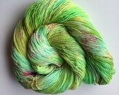 Dyed to Order - Hand Dyed Yarn - Sock Bulky DK Worsted Speckled Superwash Merino Wool Neon {pyromorphite punch}