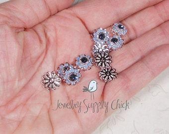 Air blue opal / Denim Swarovski crystal flower (x6)