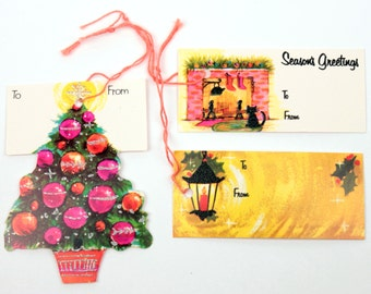 60s holiday gift tags // 18pc