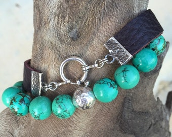 Turquoise, Leather and Sterling Bracelet Set